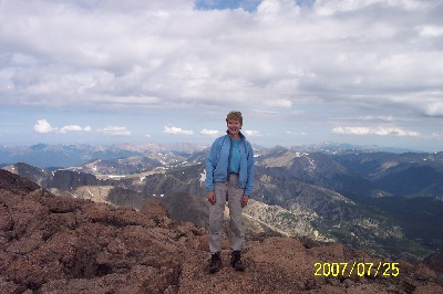 Helen on top of Longs Peak