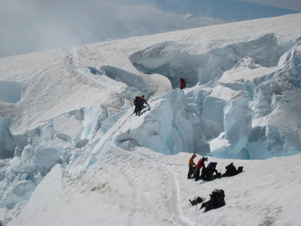 Crevasse navigation on Mt Rainier